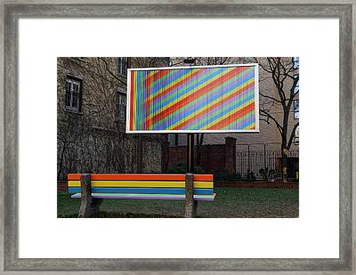Billboard And Bench Art Installation In A City Parkette Framed Print by Reimar Gaertner
