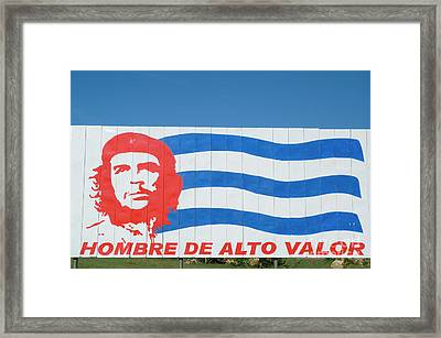 Billboard With The Iconic Che Guevara Portrait And National Cuban Flag Framed Print by Sami Sarkis