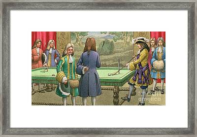 Billiards, As Played By Louis Xiv At Versailles Framed Print