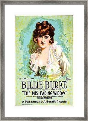 Billie Burke In The Misleading Widow 1919 Framed Print by Mountain Dreams