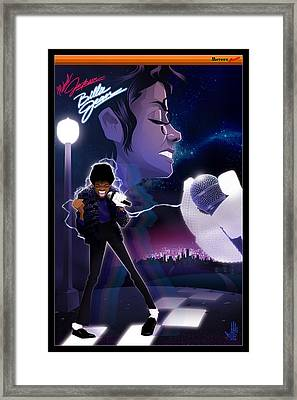 Framed Print featuring the drawing Billie Jean 2 by Nelson dedos Garcia