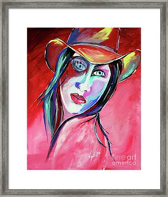 Billie Lou - Cowgirl Art By Valentina Miletic Framed Print by Valentina Miletic
