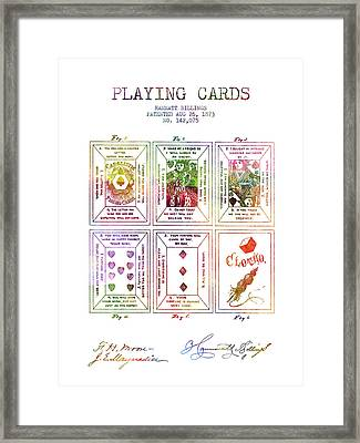 Billings Playing Cards Patent Drawing From 1873 -rainbow Framed Print by Aged Pixel