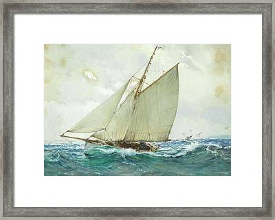 Billowing Waves Framed Print by Montague Dawson