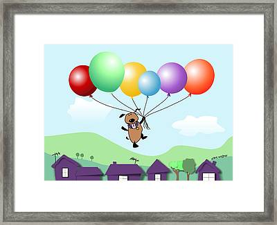 Billy Above The Rooftops Framed Print by Arline Wagner