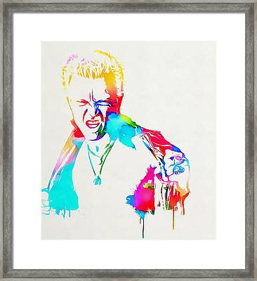 Billy Idol Watercolor Paint Framed Print