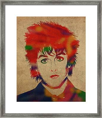 Billy Joe Armstrong Green Day Watercolor Portrait Framed Print