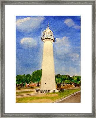 Biloxi Lighthouse Framed Print by Cathy Jourdan