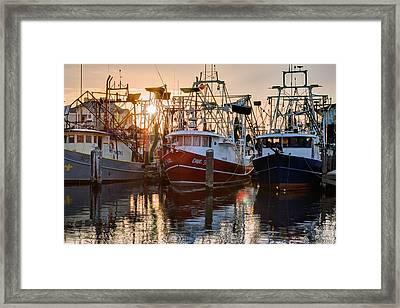 Biloxi Shrimper Sunrise Framed Print