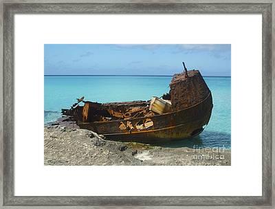 Bimini Wreck Framed Print by Carey Chen