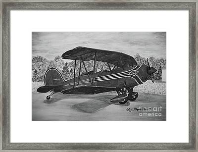 Biplane In Black And White Framed Print by Megan Cohen