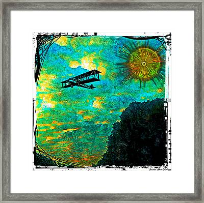 Framed Print featuring the digital art Biplane by Iowan Stone-Flowers