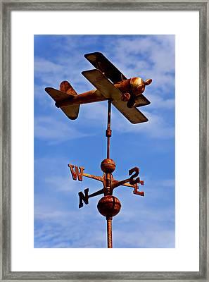 Biplane Weather Vane Framed Print by Garry Gay