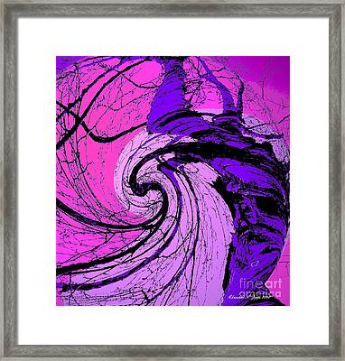 Birch - Purple And Pink Framed Print