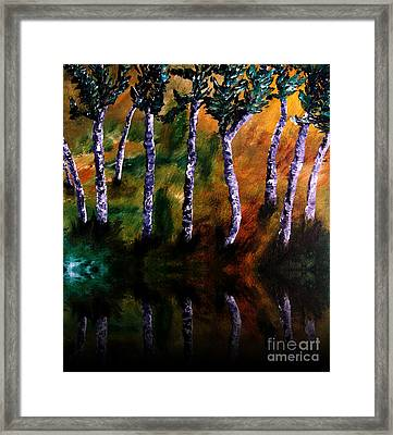 Framed Print featuring the painting Birch Forest Reflections by Ayasha Loya
