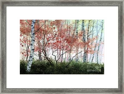 Framed Print featuring the painting Birch Forest by Sergey Zhiboedov
