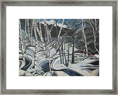 Birch Forest, Winter Framed Print by Grace Keown