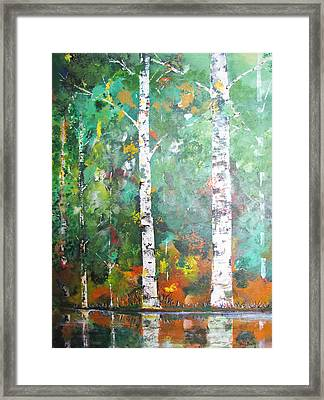 Framed Print featuring the painting Birch In Color by Gary Smith