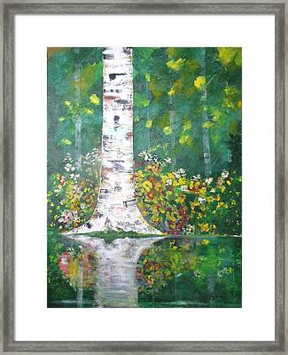 Framed Print featuring the  Birch In Flowers by Gary Smith