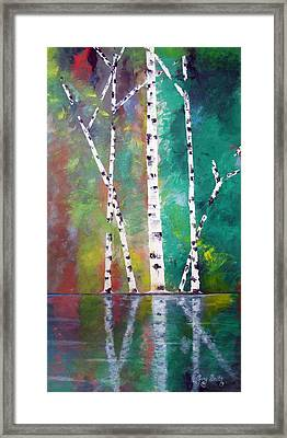 Framed Print featuring the painting Birch On Bank by Gary Smith