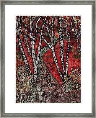 Birch Tree Mosaic Framed Print
