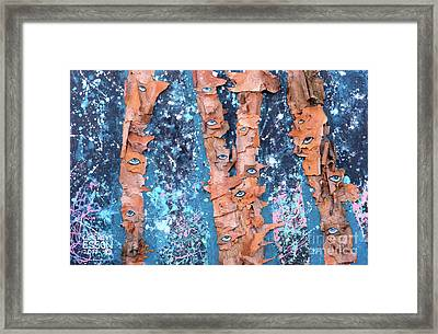 Birch Trees With Eyes Framed Print