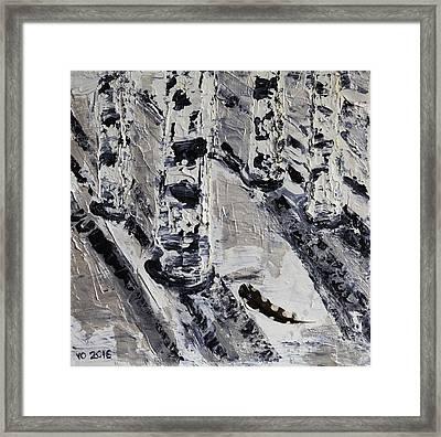 Birches And Snowy Shadows Framed Print by Valerie Ornstein