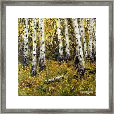 Framed Print featuring the painting Birches by Arturas Slapsys