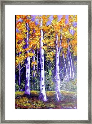 Framed Print featuring the painting Birches In Canadian Fall by Marie-Line Vasseur