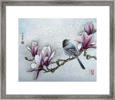 Bird And  Magnolia  Framed Print by Leaf Moore