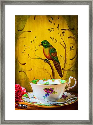 Bird And Tea Cup Framed Print