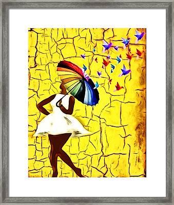 Bird Brella Framed Print by Romaine Head
