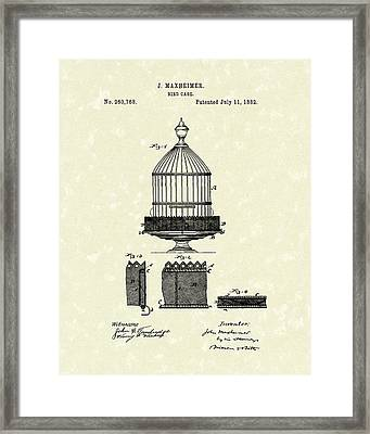 Bird Cage 1882 Patent Art Framed Print