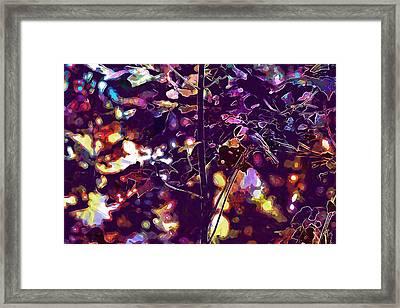 Framed Print featuring the digital art Bird Chickadee Black  by PixBreak Art