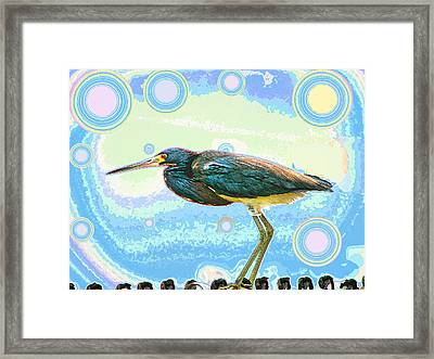 Bird Contemplates The Cosmos Framed Print by Wendy J St Christopher