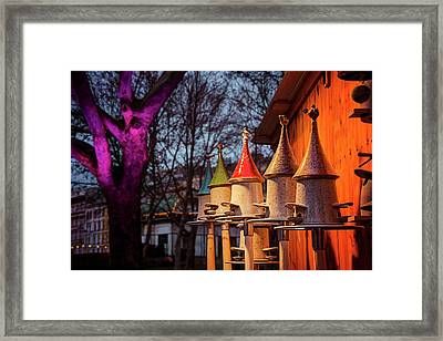 Bird Feeders At Karlsplatz Christmas Market Vienna  Framed Print by Carol Japp