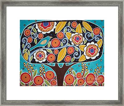 Bird In Blooming Tree Framed Print by Karla Gerard