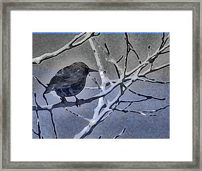 Bird In Digital Blue Framed Print
