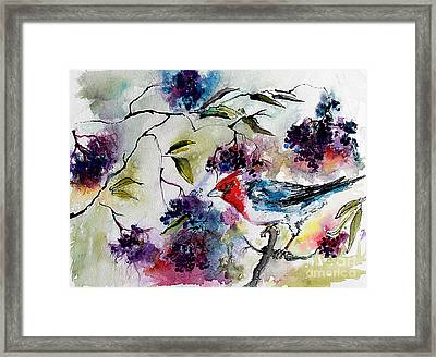 Bird In Elderberry Bush Watercolor Framed Print