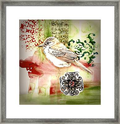 Framed Print featuring the mixed media Bird Love by Rose Legge