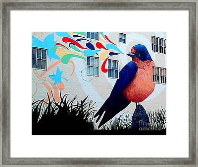 San Francisco Blue Bird Painting Mural In California Framed Print