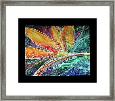 Bird Of Paradise Abstract Batik Framed Print
