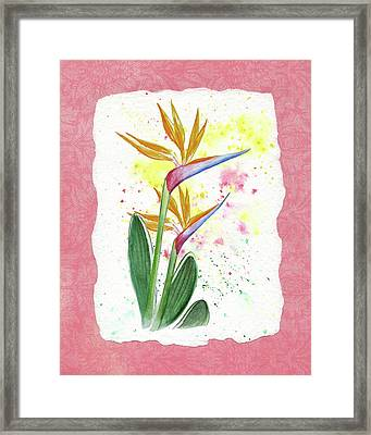 Framed Print featuring the painting Bird Of Paradise Watercolor Splashes by Irina Sztukowski