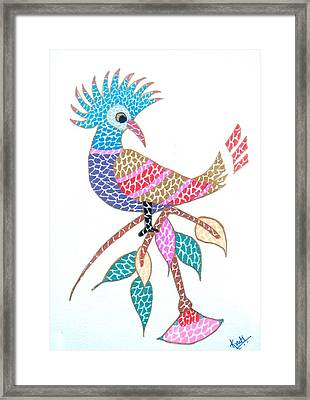 Bird On A Branch Framed Print by Kruti Shah