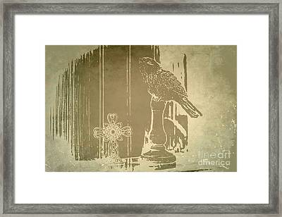 Bird On A Shelf Framed Print