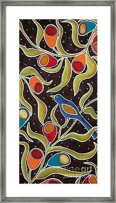 Bird On Blooms Branch Framed Print by Karla Gerard