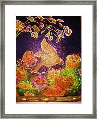 Bird On Flowers On A  Glorious Night Framed Print by Anne-Elizabeth Whiteway