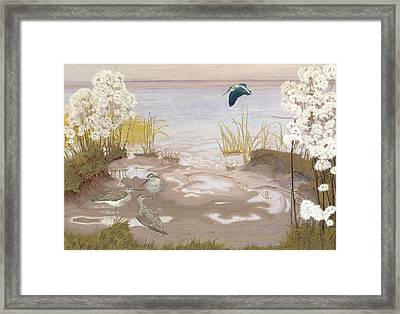 Bird On The Mud Flats Of The Elbe Framed Print by Friedrich Lissmann