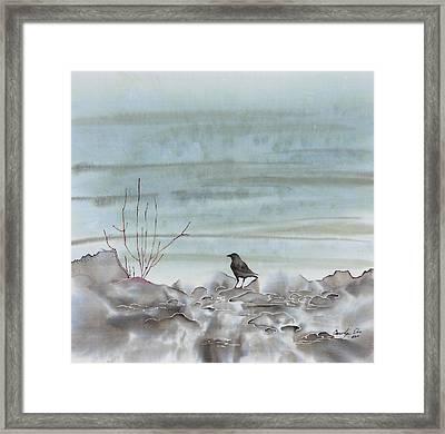 Bird On The Shore Framed Print by Carolyn Doe