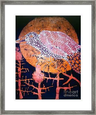 Bird On Thistle At Sundown Framed Print by Carol Law Conklin